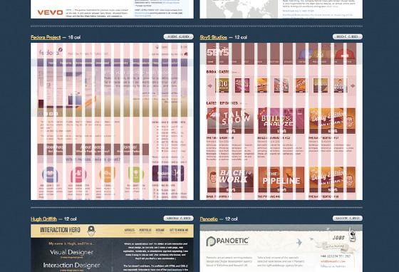 screenshot of grid overlaid on top of websites