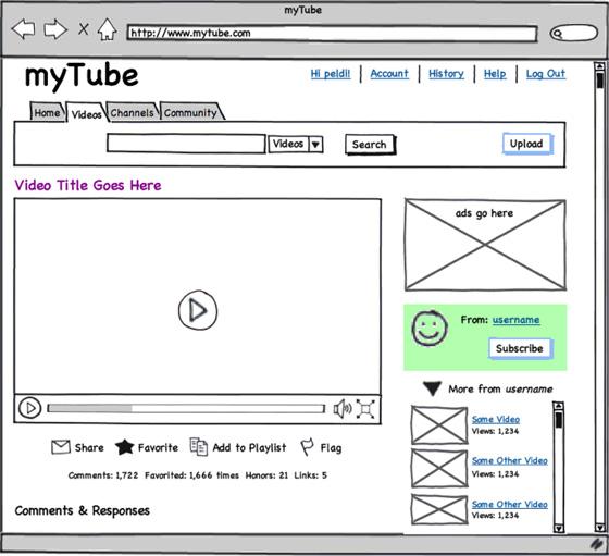 screenshot of wireframe in Balsamiq