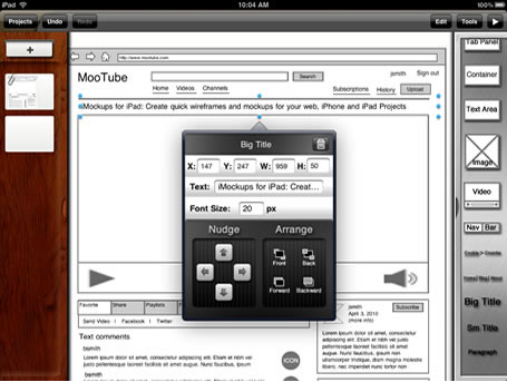 screenshot of wireframe in Balsamiq showing title text options
