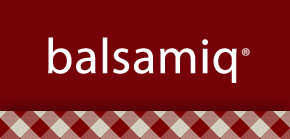 Balsamiq logo on a picnic table cover background