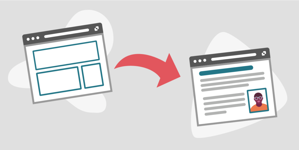 A content migration illustration of an empty web page template on the left and the same page filled with content on the right.