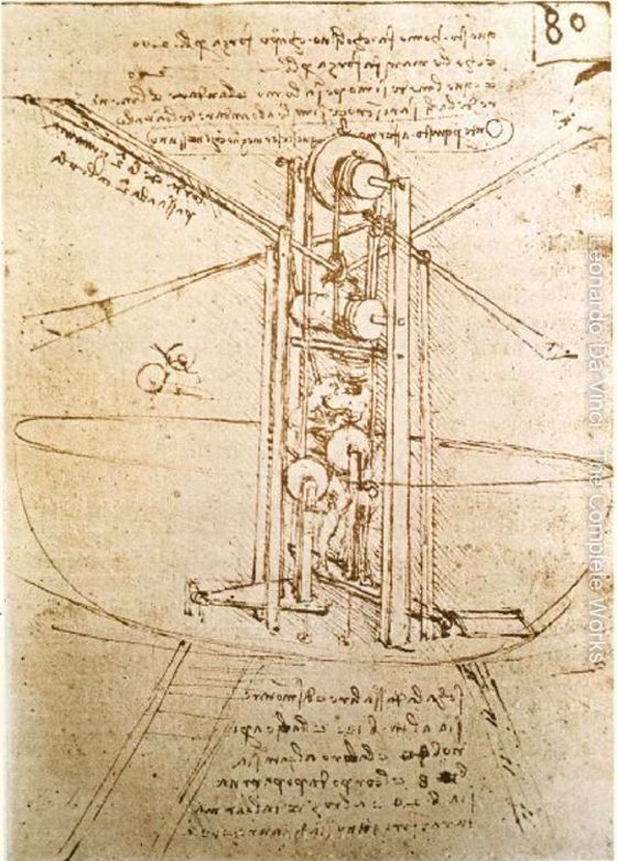 image of drawing done by Leonardo DaVinci, Design for a Flying Machine, c. 1487