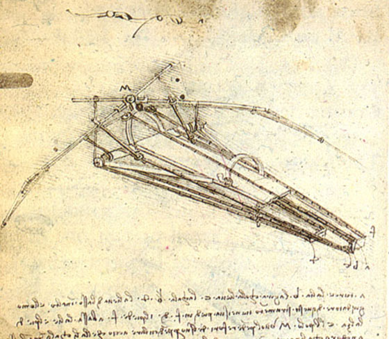 image of Leonardo DaVinci drawing of a flying machine, c. 1488
