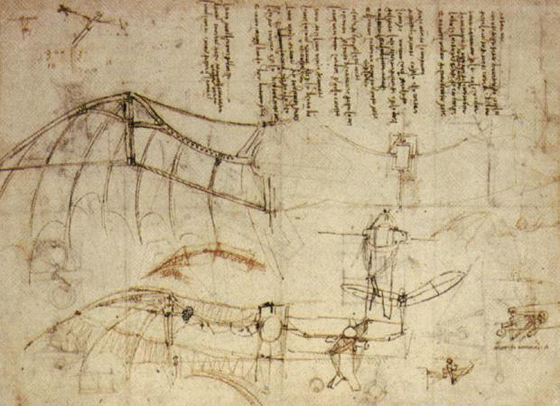 image of Leonardo DaVinci drawing for his Flying Machine design, c. 1488
