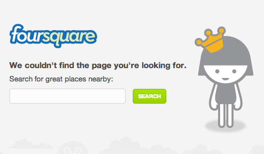 screenshot of foursquare can't find page search result page