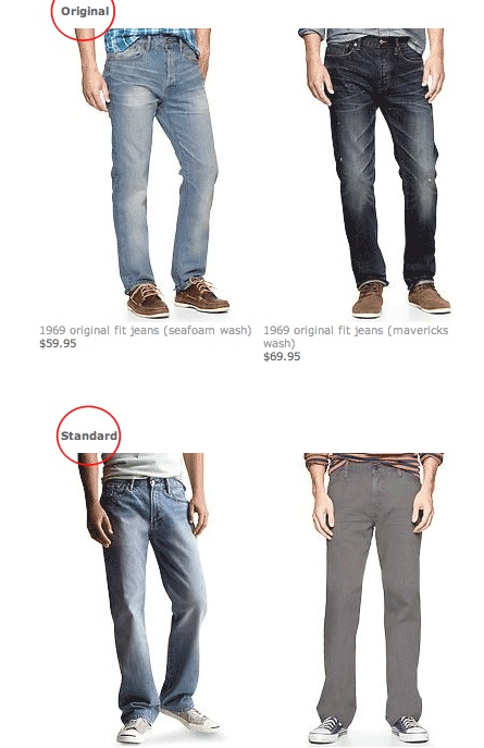 screenshot of Gap jeans Keywords