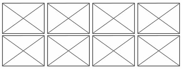 wireframe of box layout where each box is the same size