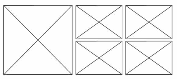 wireframe of box layout where one box is large and the other four are the same size