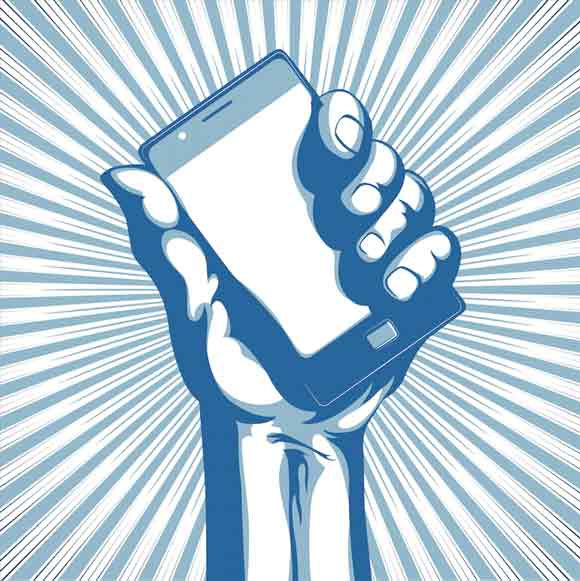 illustrated graphic of hand holding a smart phone