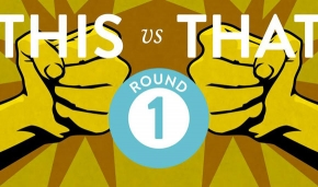 Illustrated graphic of two fists at odds in a round 1 battle