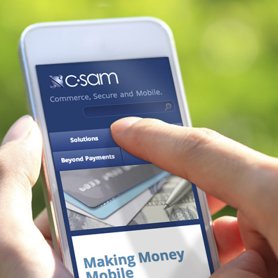 A responsive web design communicates C-SAM's role as a global innovator in mobile wallet solutions.