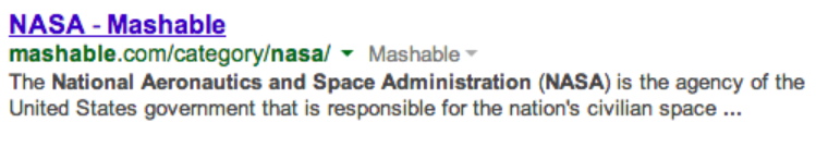 Screenshot of NASA Mashable google search result