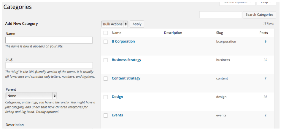 Screenshot of categories in wordpress admin