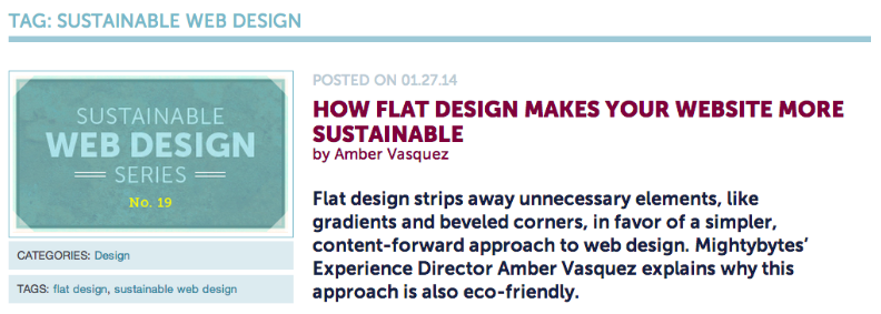 Screenshot of Sustainable Web Design Post