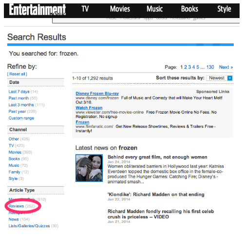 screenshot of Entertainment Weekly search results page