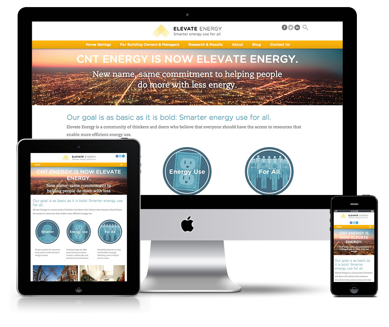 Elevate Energy's website features responsive design, which gives customers a beautiful and intuitive experience, no matter whether they're browsing on a mobile device, tablet or desktop.