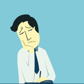 illustration of business person looking bored