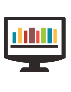 Computer icon with a bookshelf on the screen