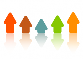 graphic of arrows of different colors and heights pointing upwards