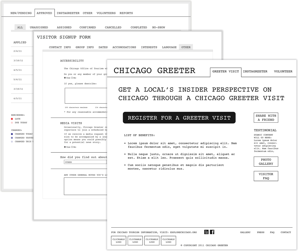 Chicago Greeter wireframes