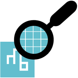 graphic of the mightybytes logo under a magnifying glass to see the individual pixels