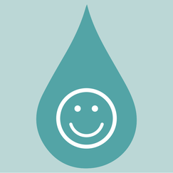 happy face in a drip symbol