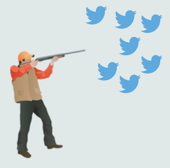 hunter shooting at flock of twitter icon birds