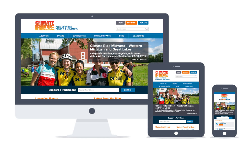 Examples of Climate Ride's responsive design