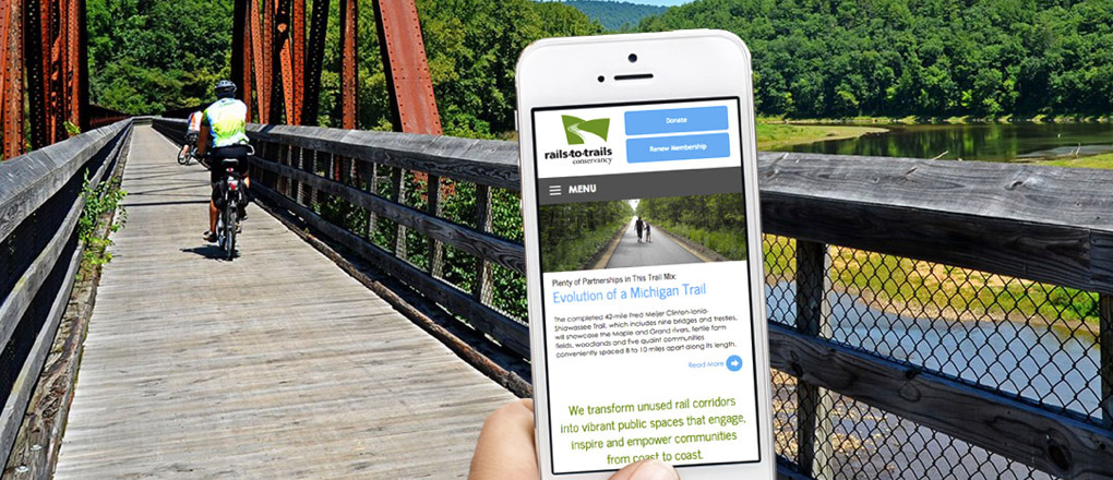 Rails-to-Trails website being used on the go
