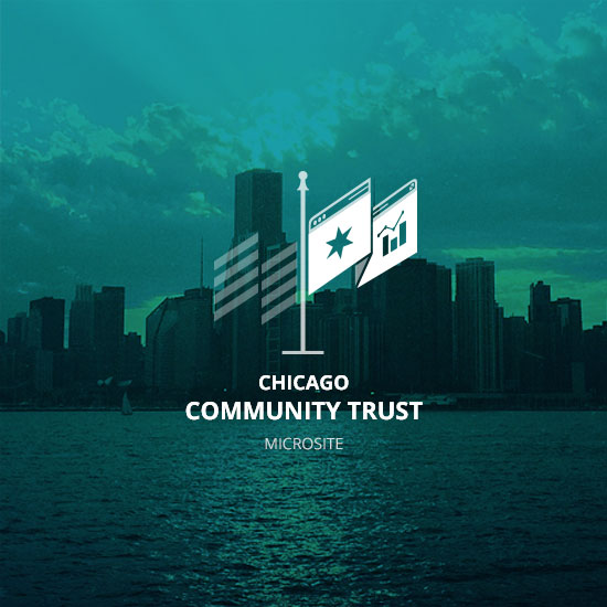 Chicago Community Trust logo on a color filtered chicago skyline background