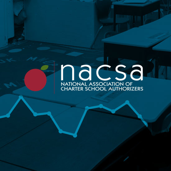NACSA logo on a blue color filtered photo of a classroom