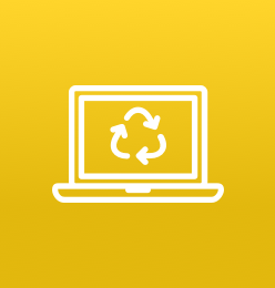 Icon of computer with icon of recycling symbol on a yellow background