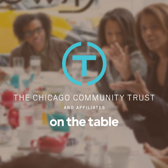 Chicago Community Trust On the Table Logo with women sitting at a table together