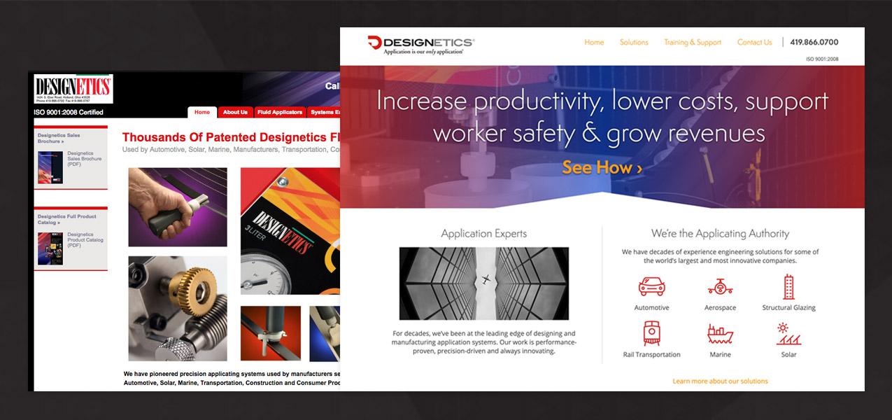 Designetics website before and after