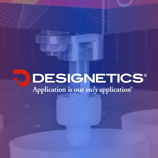 Designetics logo on a color filtered photographic background