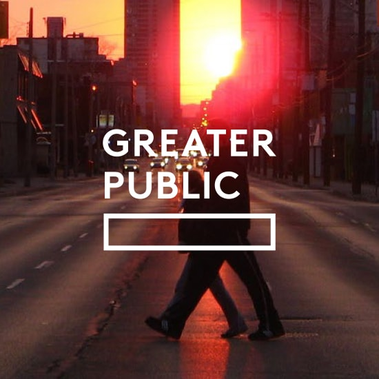 Greater Public logo with photo of people crossing the street backlit by the sun