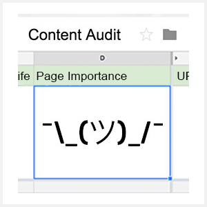 Cells in content audit spreadsheet