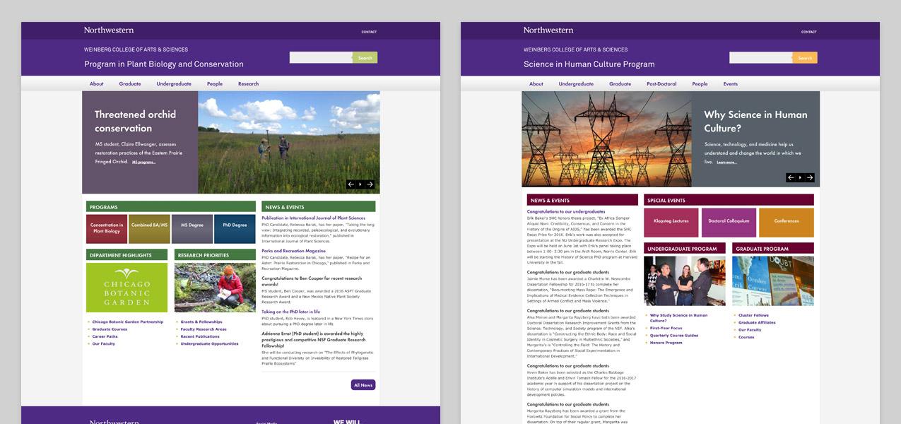 Northwestern University Weinberg Websites