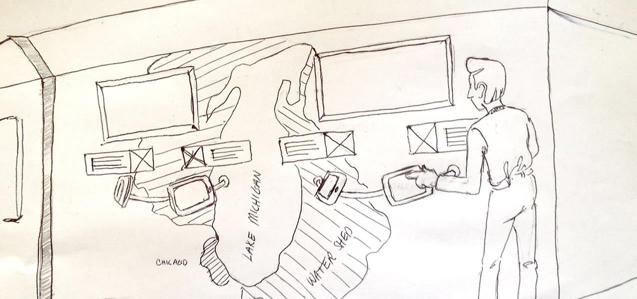 Shedd game kiosk concept sketches