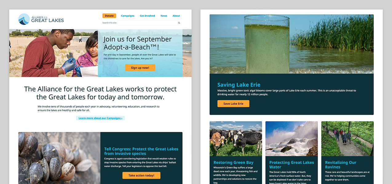 Screenshots of the Alliance for the Great Lakes homepage and another interior page
