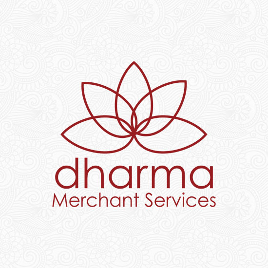 Dharma Merchant Services logo on an ornate pattern background
