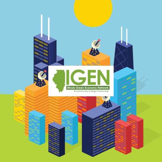 IGEN Smart Power Illinois logo on top of vector illustration of Chicago