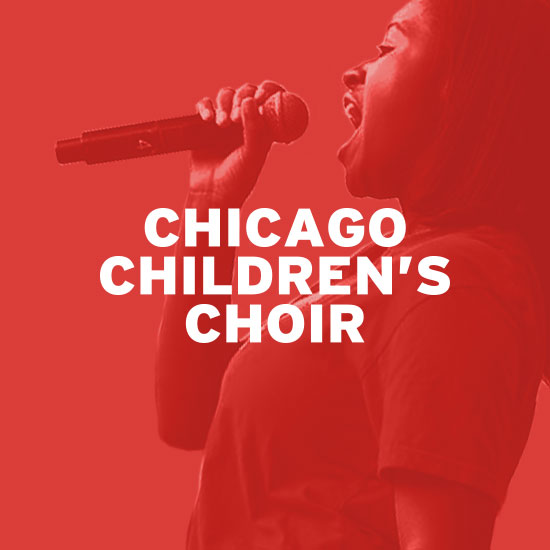 Graphic of Chicago Children's Choir logo with female choir member singing in background