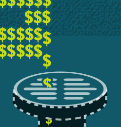 Graphic of dollar symbols falling into a drain