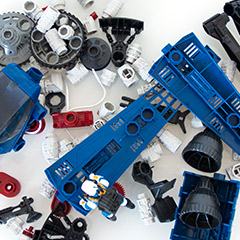 photo of robotix parts in a messy pile