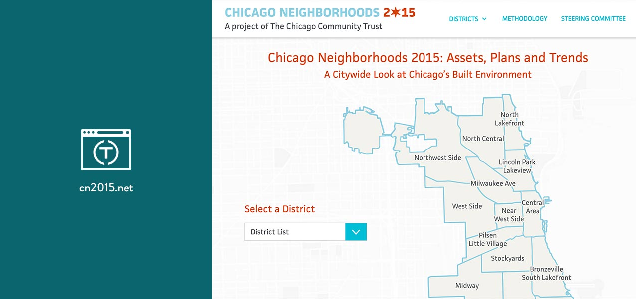 Chicago Community Trust Chicago Neighborhoods 2015 website icon and screenshot