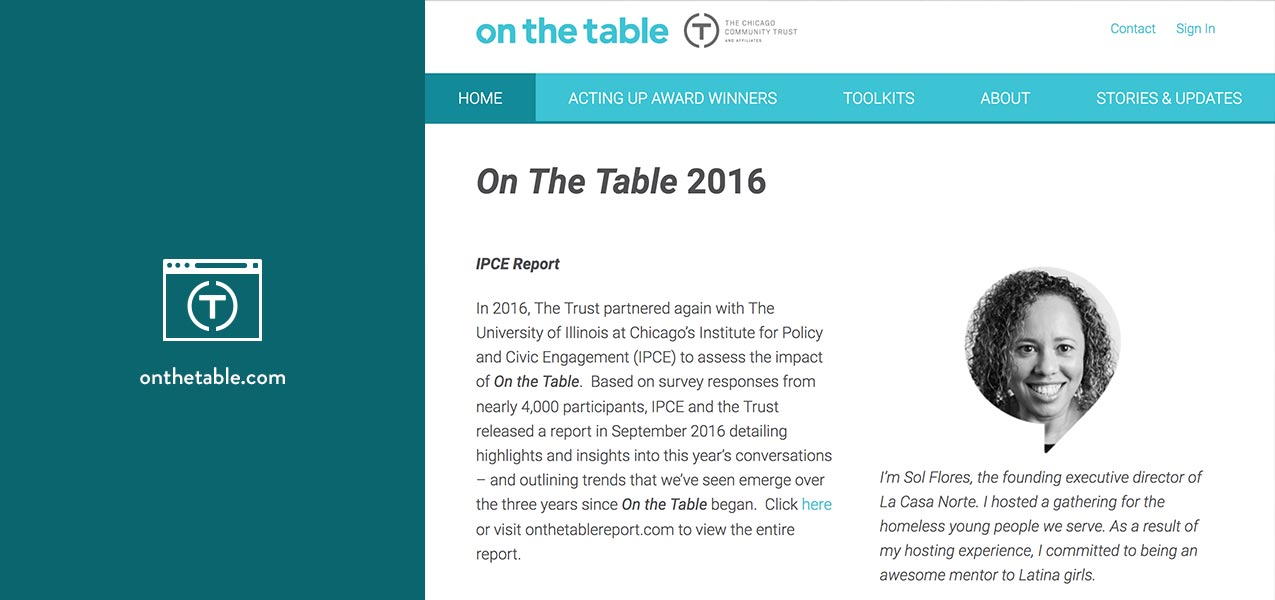 Chicago Community Trust website icon with screenshot of the On the Table website