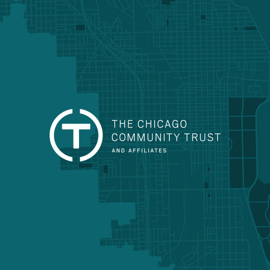 graphic of Chicago Community Trust logo on turquoise background with chicago map