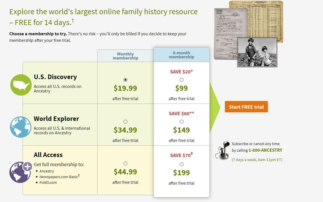 A page from Ancestry.com showing how a button in bright orange stands out from the rest of the page.