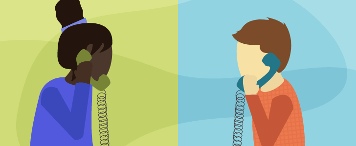 Illustration of two people talking on the phone